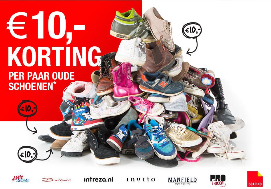 €10,- korting per paar oude schoen @ Scapino, Actie Sport, Manfield, PRO, Invito, Intreza en Dolcis