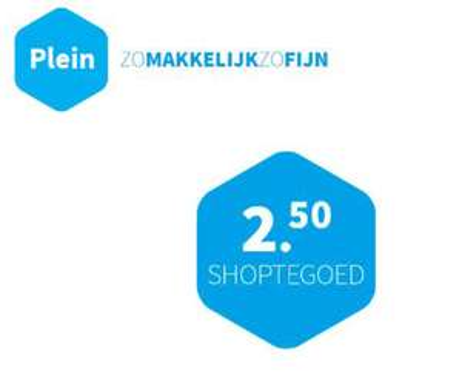 €2,50 korting bij Plein.nl (geen minimale besteding)
