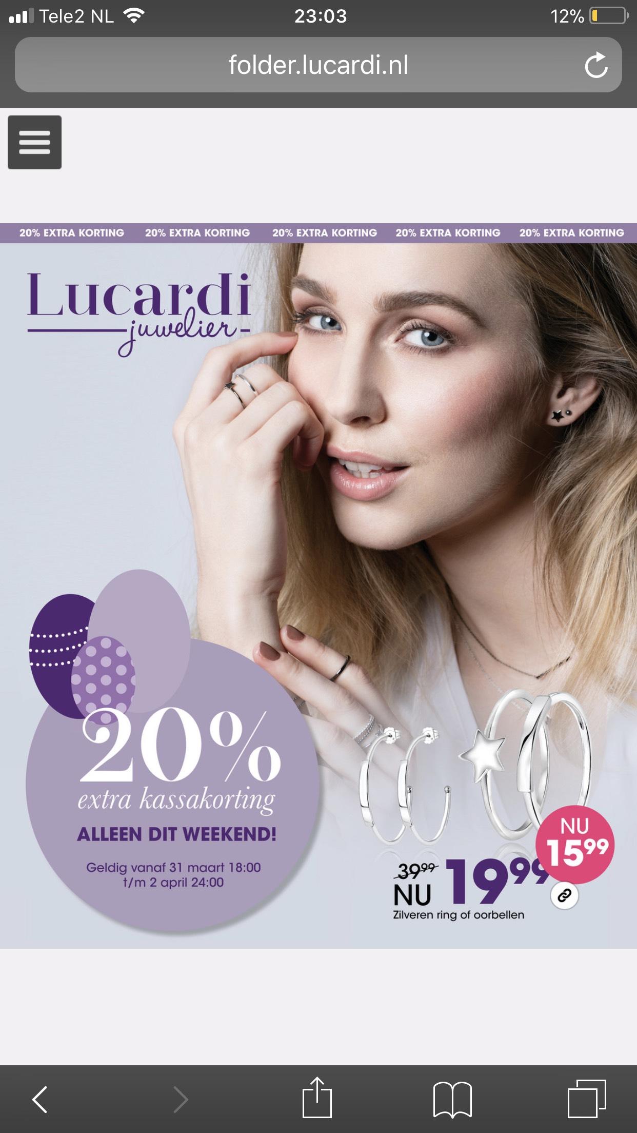 Lucardi 20 % paaskassakorting weekend