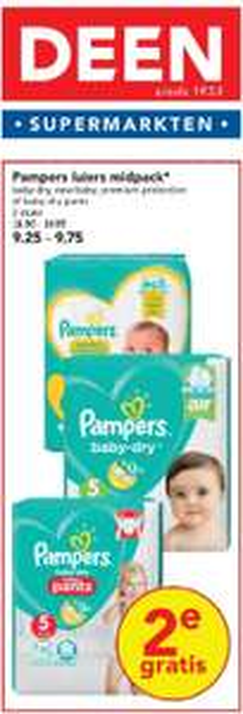 Pampers, 2e gratis @ Deen supermarkten