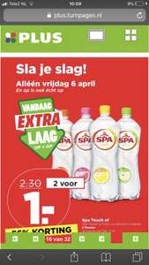 2 spa touch flessen voor €1,- @ plus