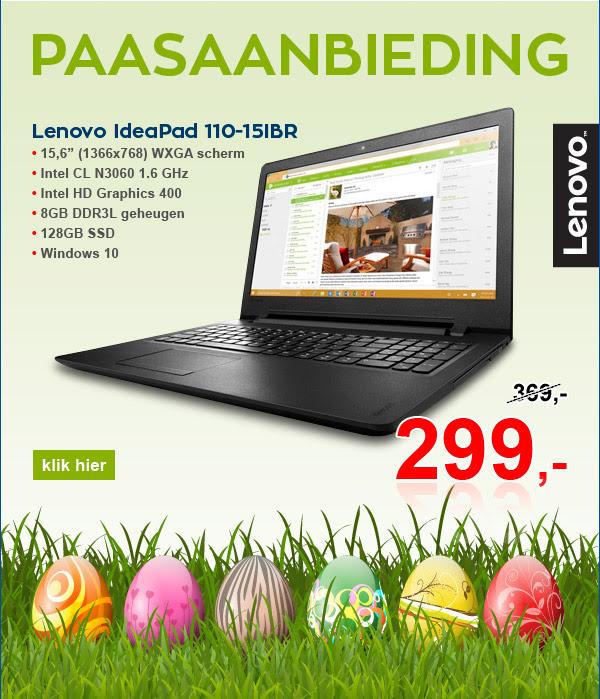Paaslaptop Lenovo IdeaPad 110-15IBR nu voor €299 @ Informatique.nl