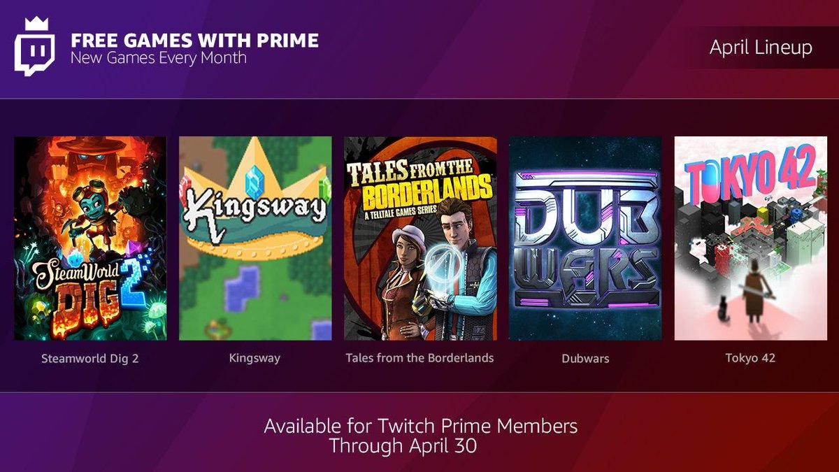 Twitch Prime games voor april