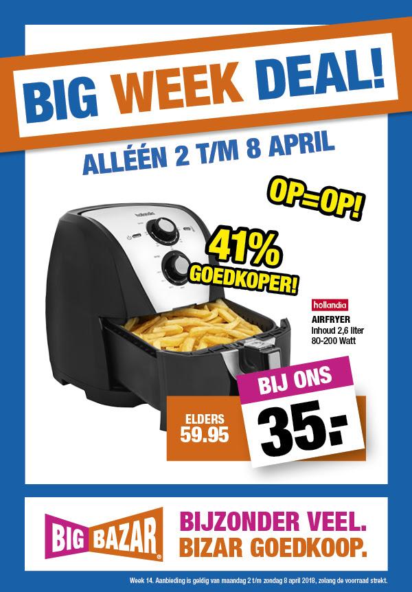 Hollandia Airfryer 2,6 liter voor €35 @ Big Bazar Winkels