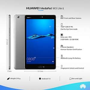 "Huawei MediaPad M3 8"" Lite Tablet - (Qualcomm Octa-core 1.4GHz, RAM 3GB, ROM 32GB, IPS-Display)"