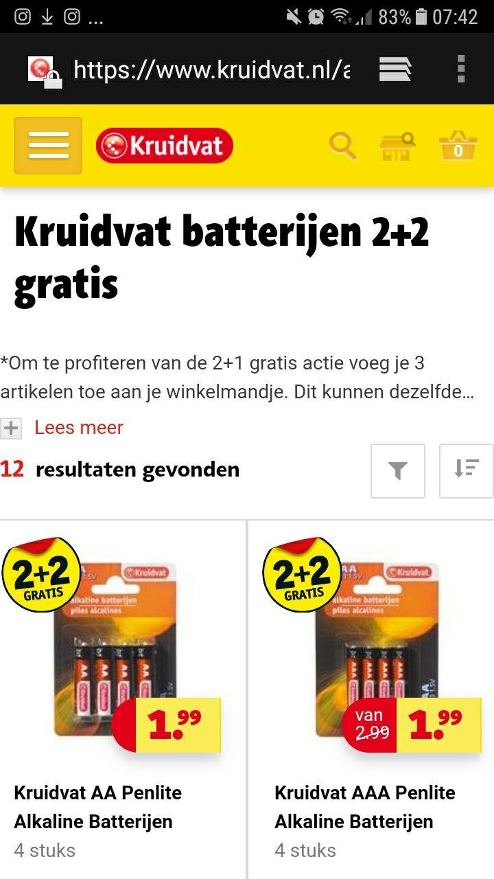 Kruitvat Batterijen 2+2 Gratis