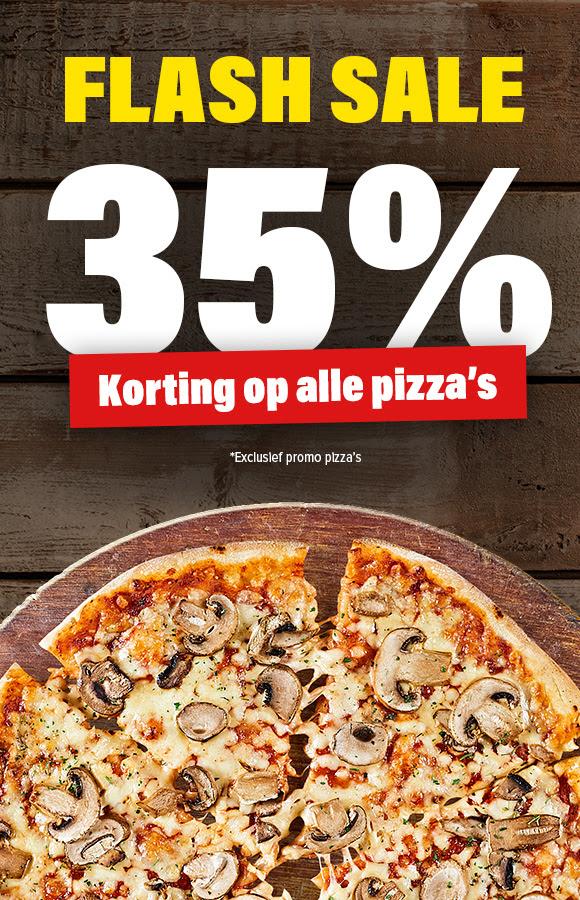 Alléén vandaag, 35% korting op alle pizza's @ Domino's
