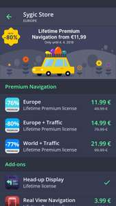 Sygic gps europe+live traffic. 18eur. -78%. lifetime licentie.