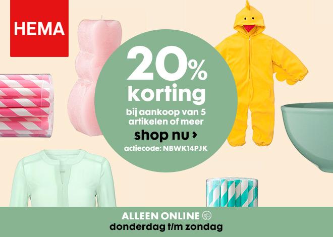T/m zondag 20% korting bij aankoop 5 producten of meer @ HEMA