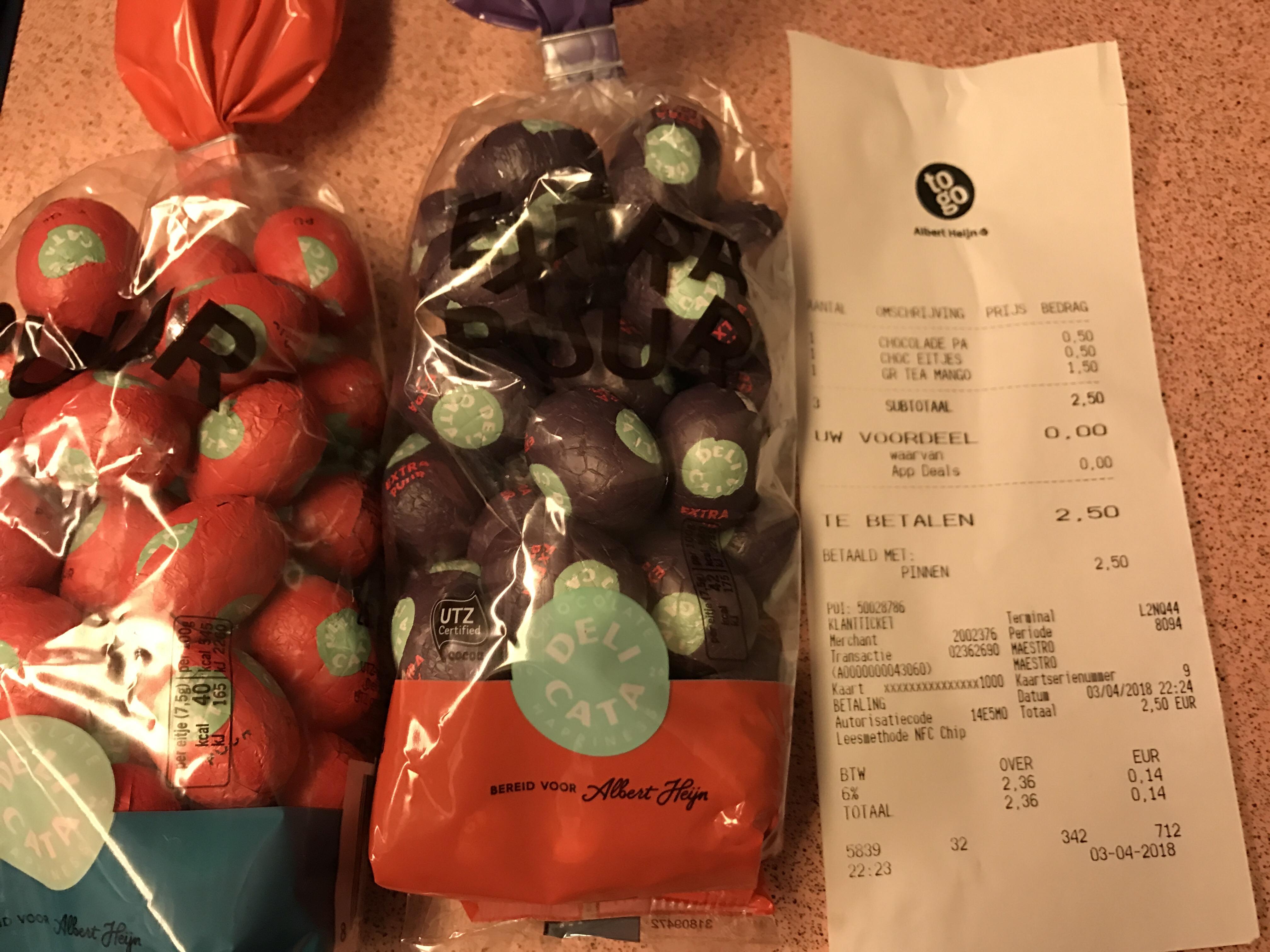 Delicata paaseitjes 2 zakjes van €5,18 voor €1! @ AH to go leiden centraal