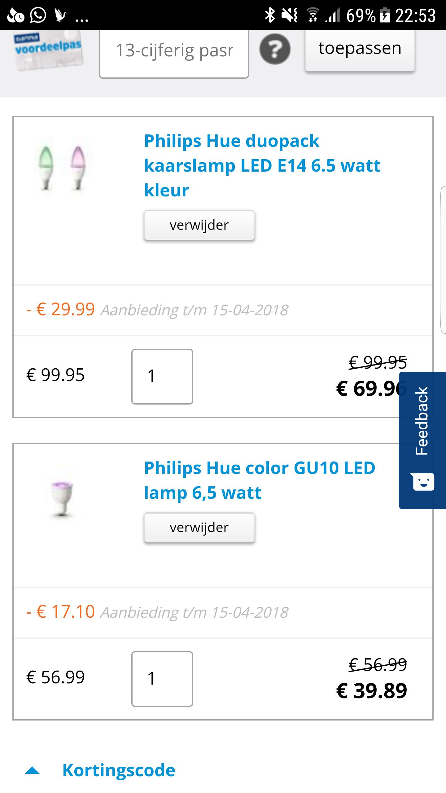 30% korting op Philips Hue e27, e14 & gu10@Gamma