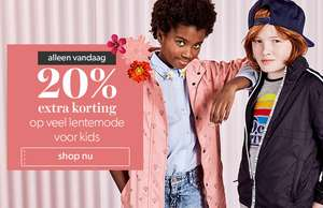 Alleen vandaag: 20% extra korting op heel veel voorjaarsmode voor kids en teens @ Wehkamp