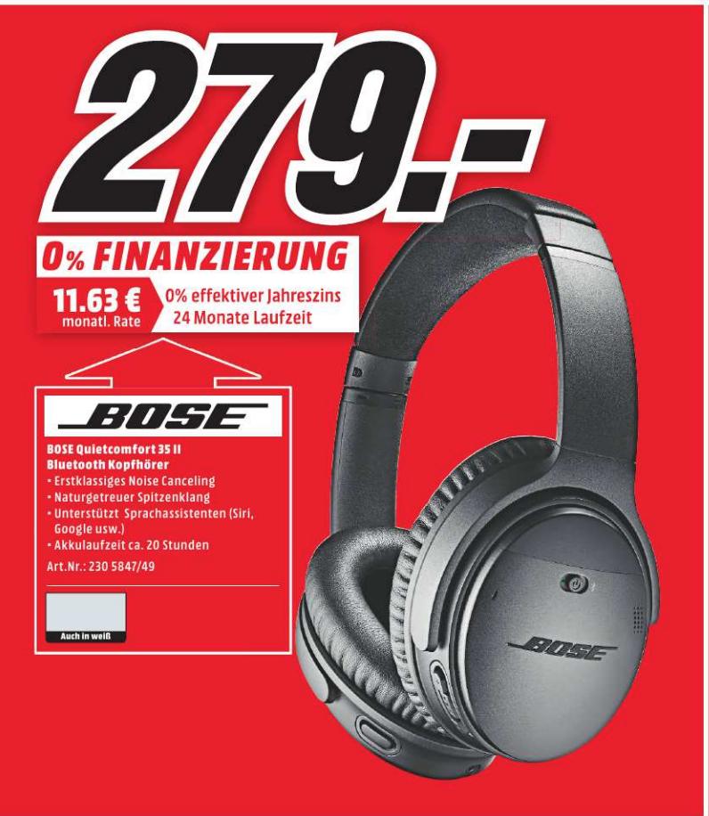 BOSE® QuietComfort 35 II zwart/zilver @ Mediamarkt Papenburg DE [Grensdeal]