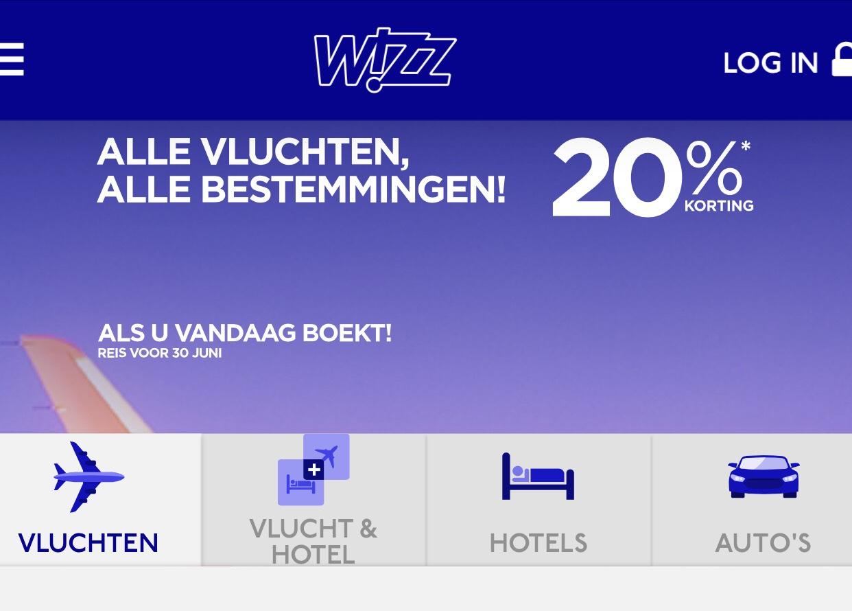 20 % op alle vluchten bij Wizz Air (Club Members Only)