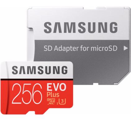 Samsung MicroSDXC EVO+ 256GB 100MB/s CL10 U3 + SD adapter @ Coolblue & Bol