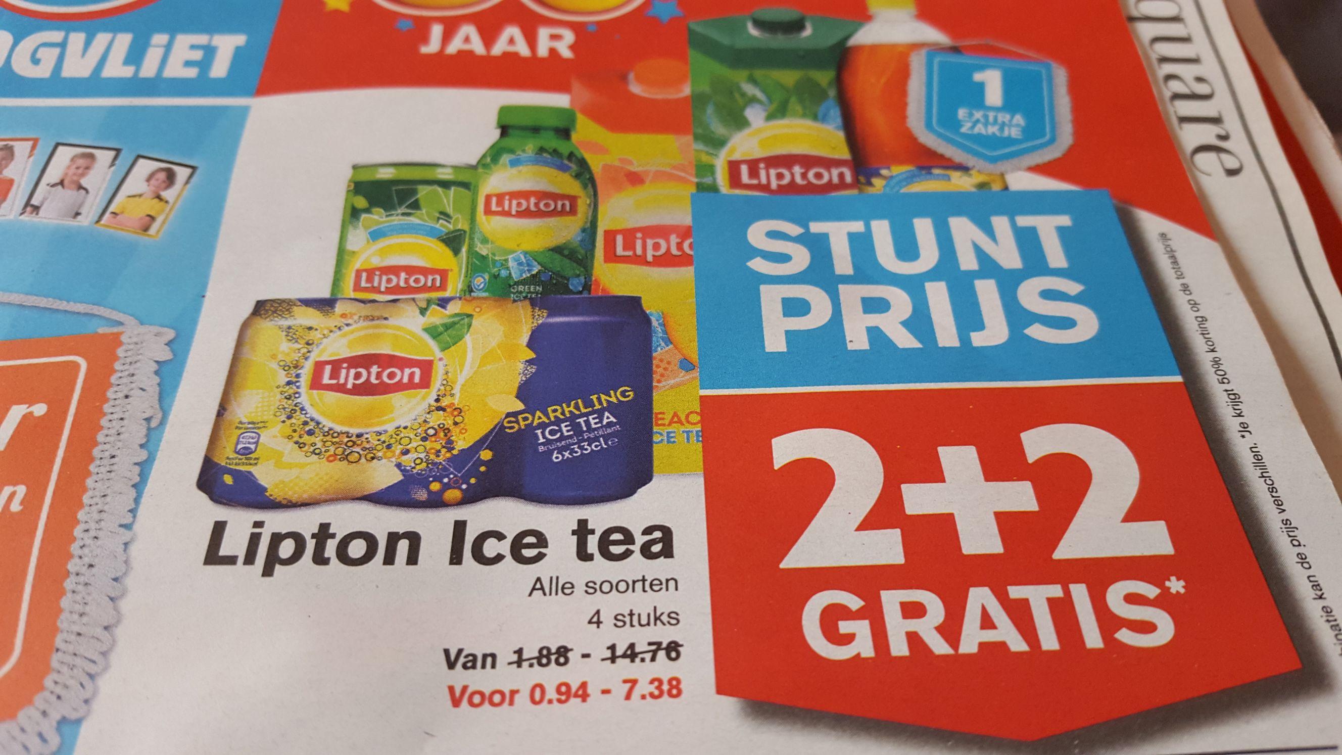 Lipton Ice Tea 2+2 gratis Hoogvliet!