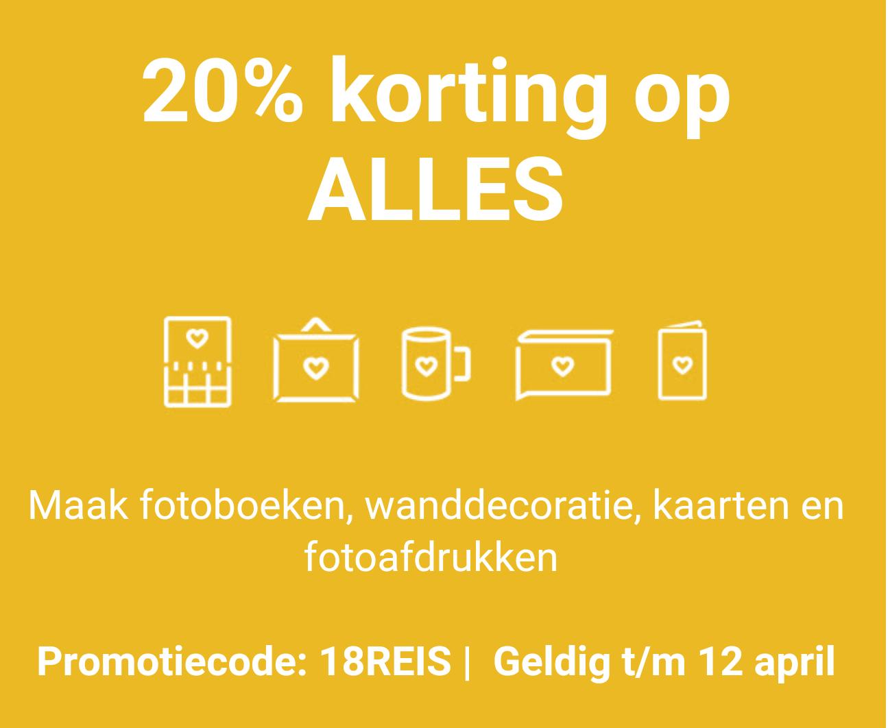 40% korting op fotoafdrukken + 20% korting op de rest @Albelli