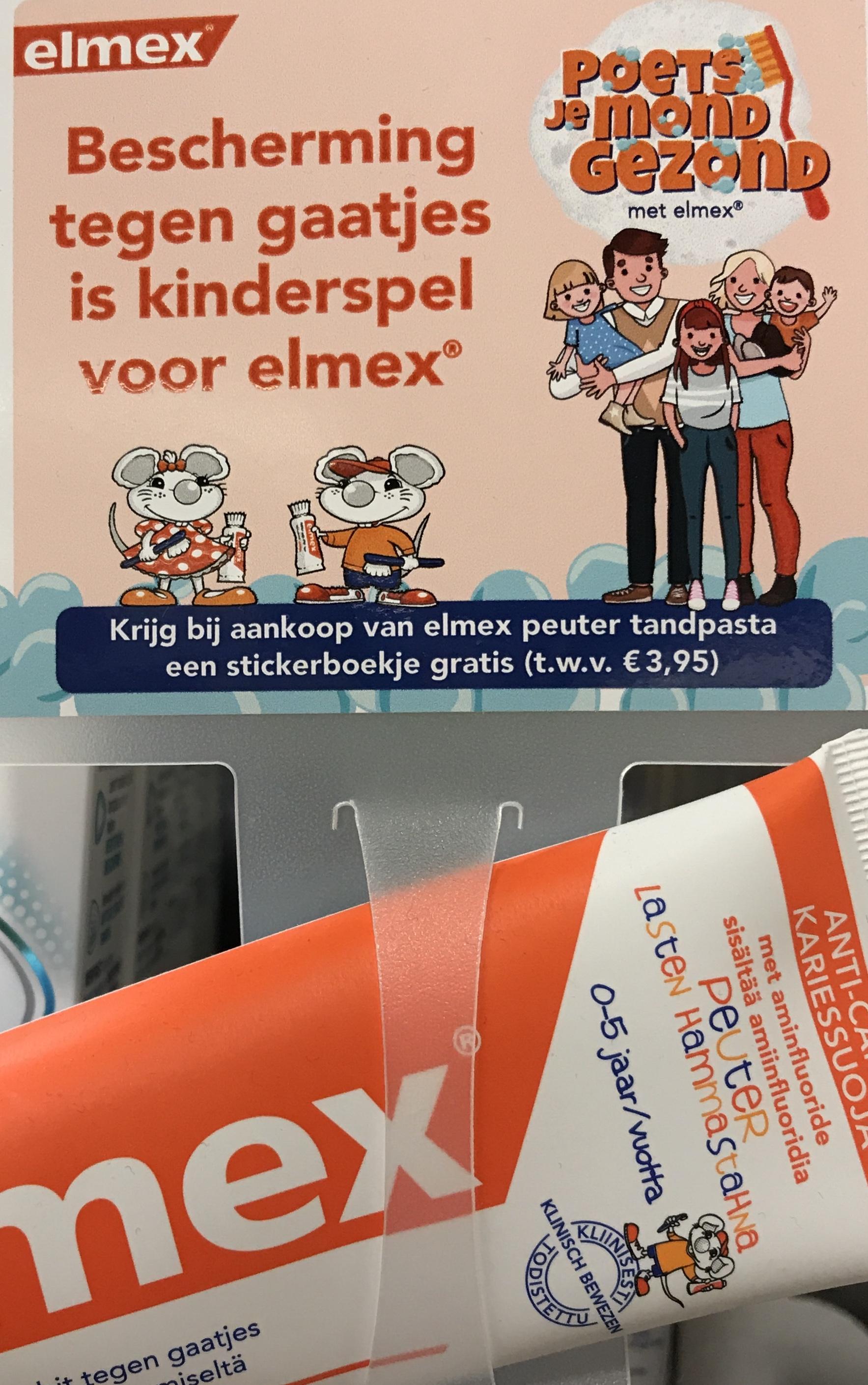 Gratis stickerboekje twv €3.95 bij aankoop Elmex Peuter Tandpasta