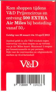 Voucher voor 500 extra Airmiles @ V&D / Shell