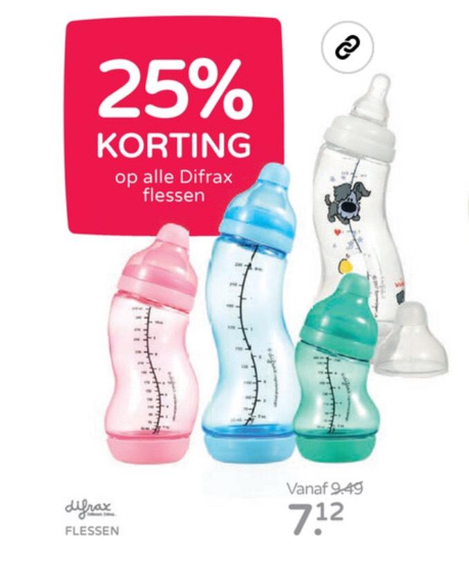 25% korting op alle Difrax flessen bij prenatal