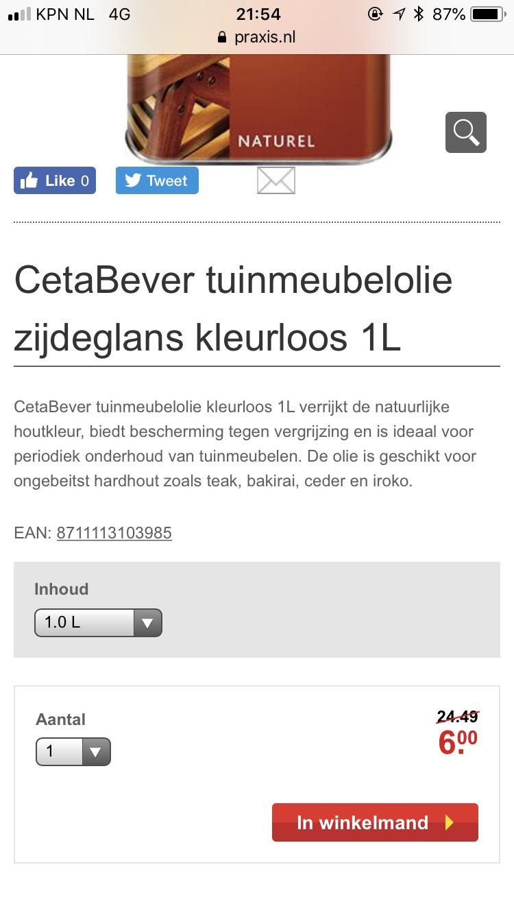 Cetabever tuinmeubelolie 1 liter 6€ ipv 24,49€ @Praxis