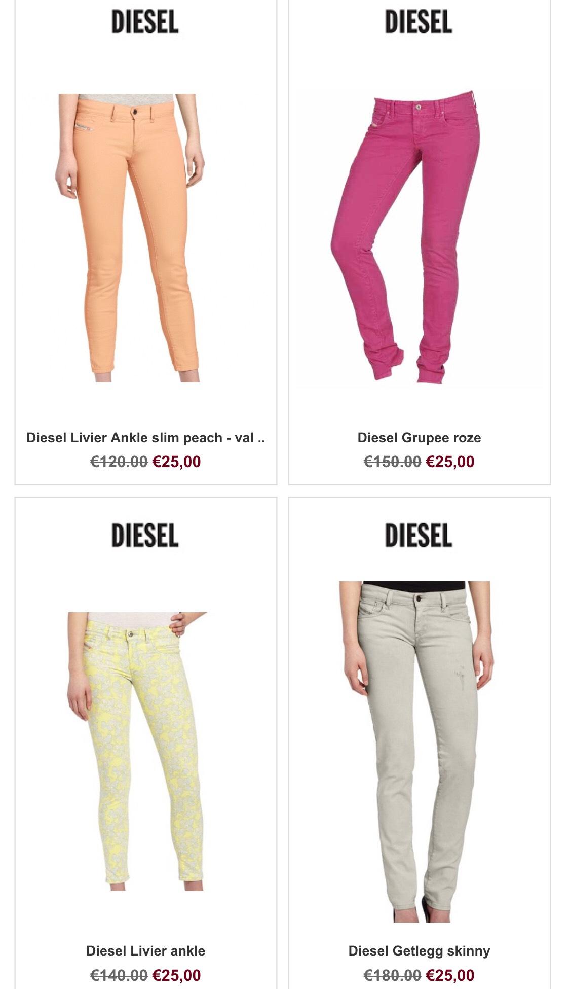 Dames jeans €25 o.a. Diesel, Only @Kleren.com