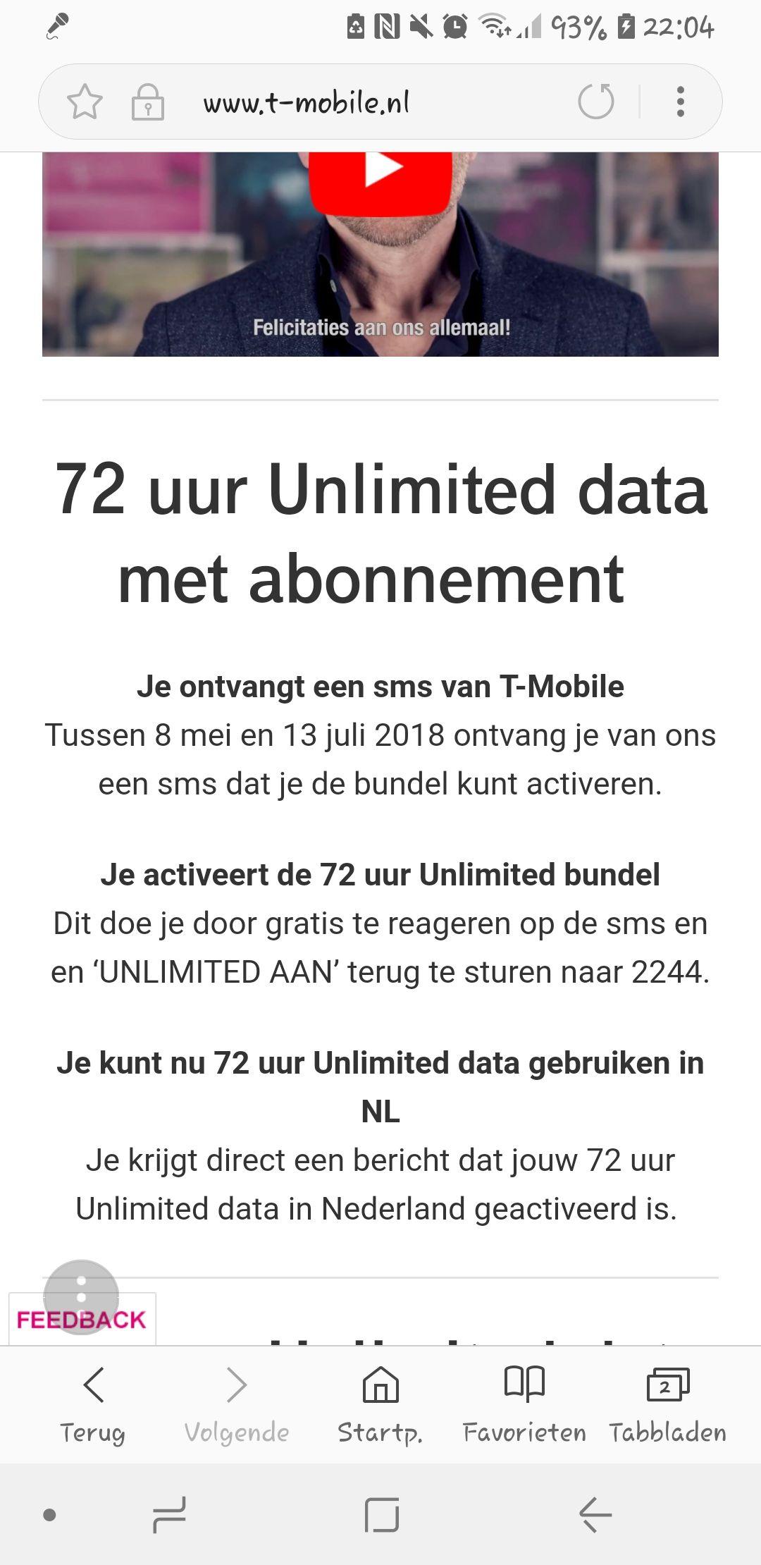 72 uur unlimited data van t mobile vanaf 8 mei t/m 13 juli!