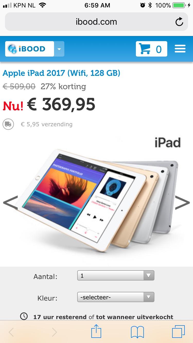 Apple iPad 2017 (wifi, 128gb) voor 376 euro bij iBood