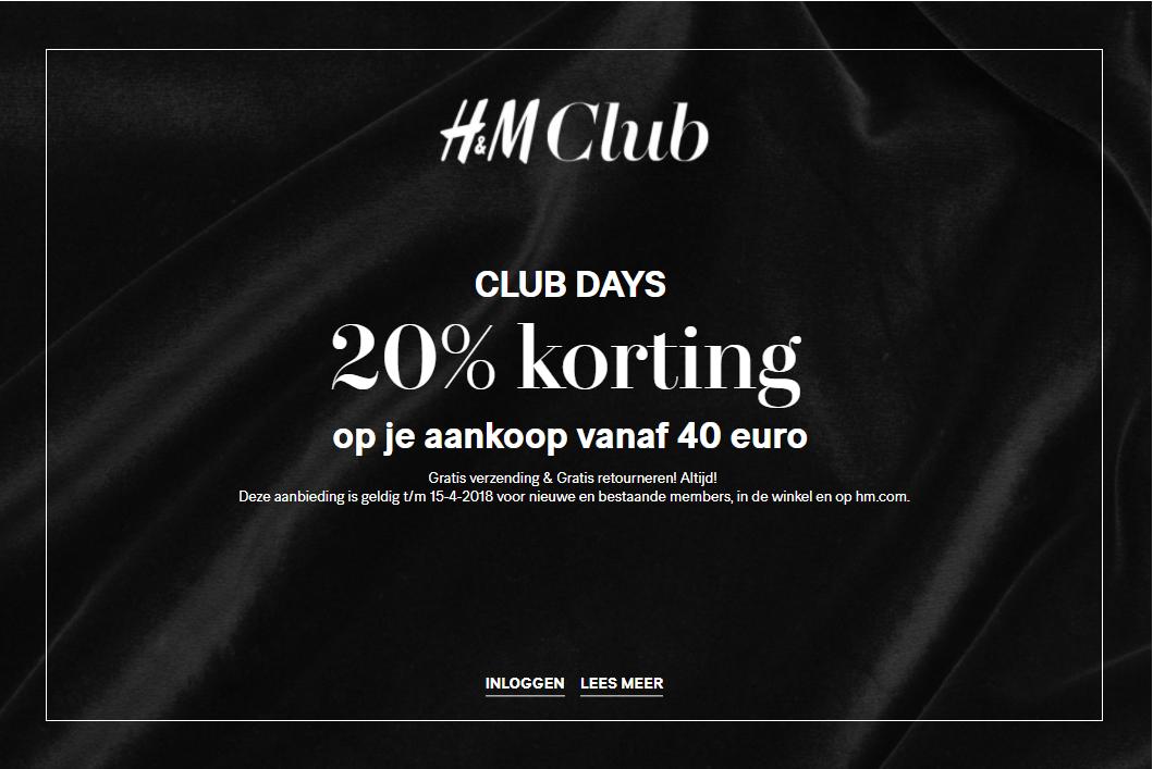 H&M club days: 20% korting bij besteding van €40 voor clubmembers