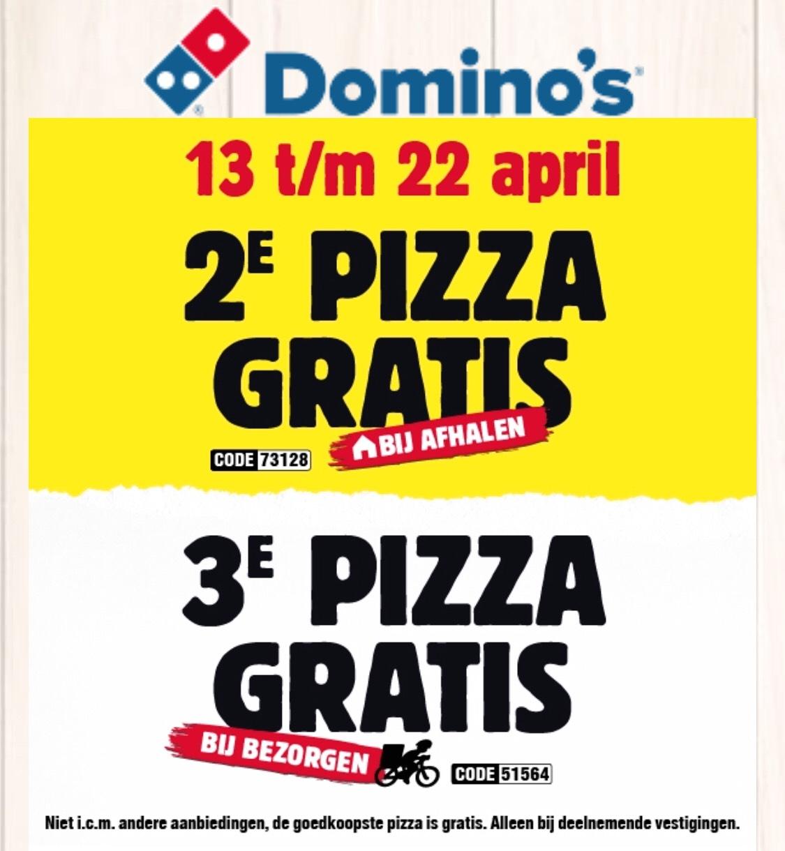 2e of 3e pizza gratis bij afhalen of bezorgen bij Domino's!