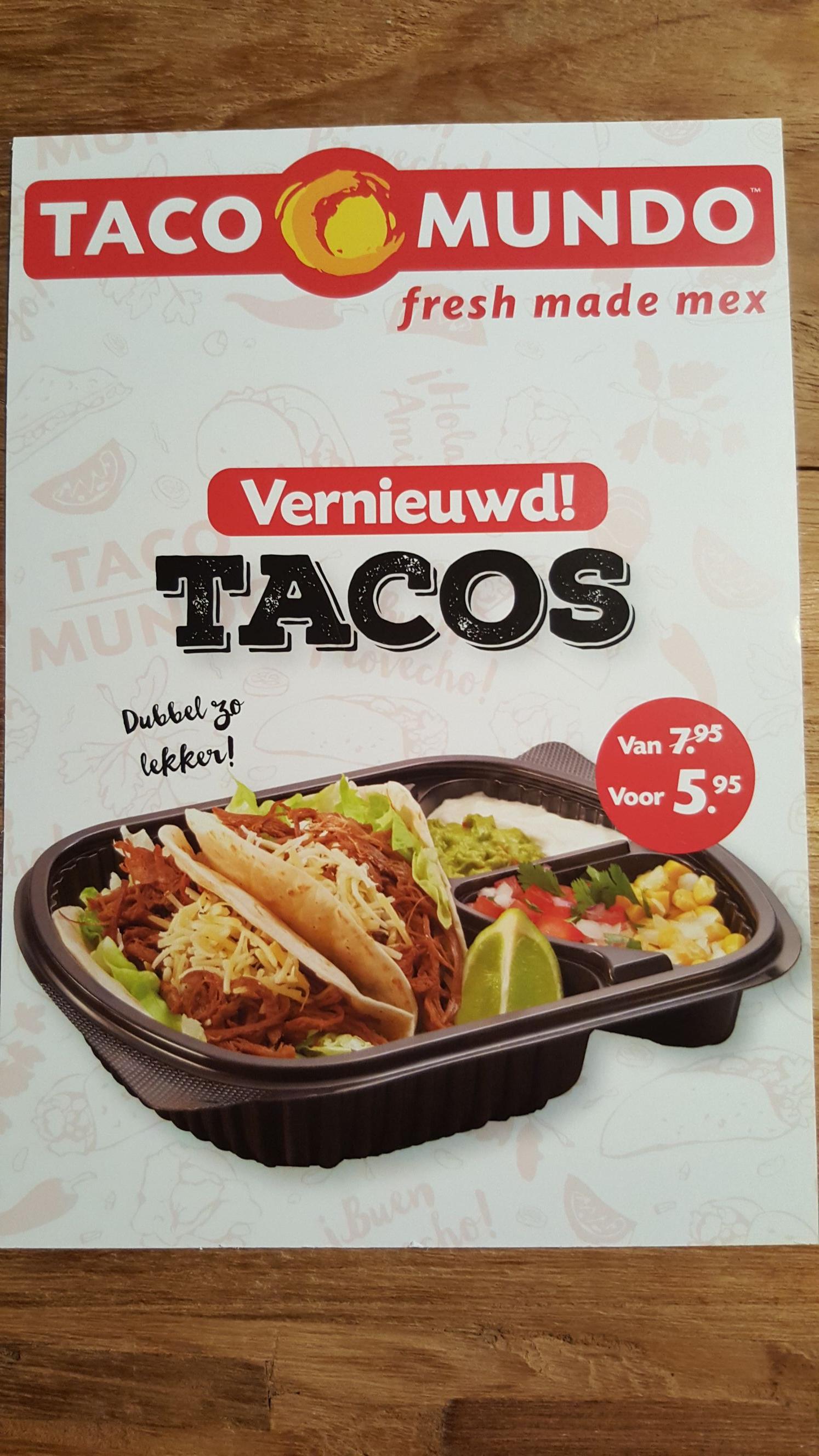 Korting op vernieuwde taco's bij Tacomundo