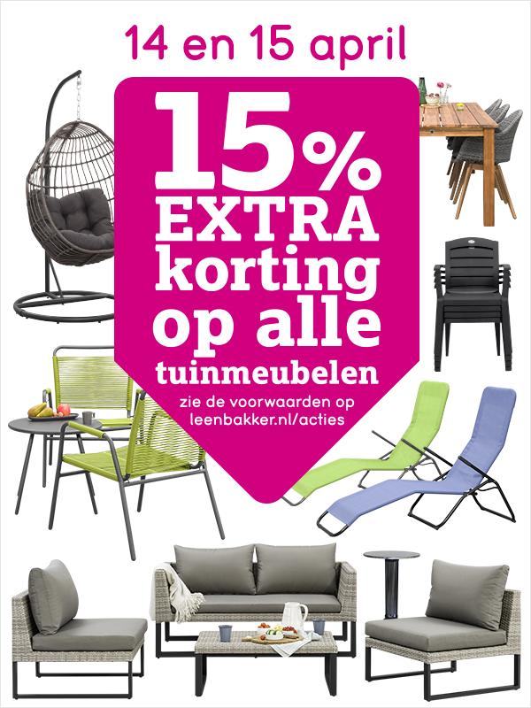 15% extra korting op alle tuinmeubelen op 14 en 15 april @ Leenbakker