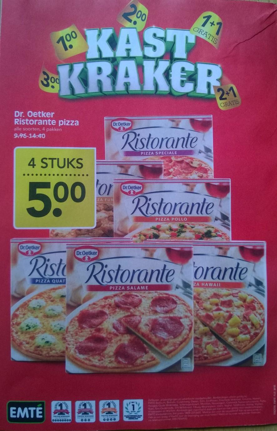Emté: Dr. Oetker Ristorante pizza's - 4 stuks voor €5,00