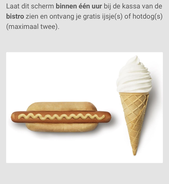 Gratis twee ijshoorntje(s) en/of hotdog(s) bij IKEA.