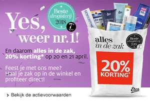 Etos: 20% korting op 20 en 21 april op alles dat in de zak past *