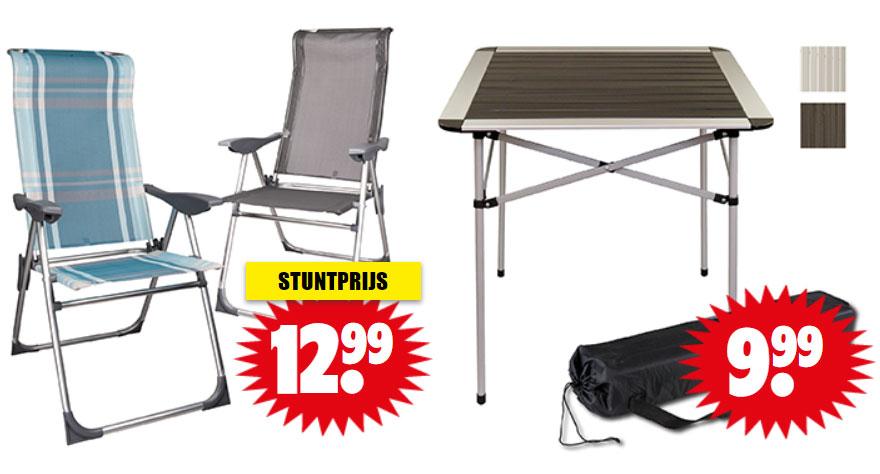 Luxe camping-/ tuin-/ relaxstoel €12,99 + inklapbare tafel €9,99  @ Dirk / Dekamarkt