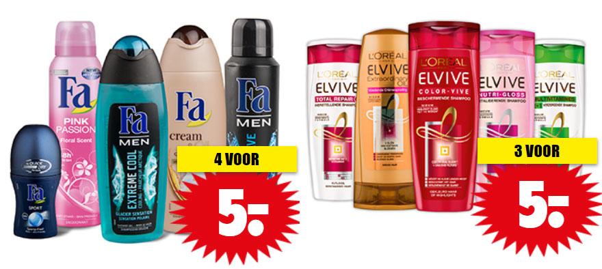 Fa deo + douchegel 4 voor €5 / 3x Elvive €5 @ Dirk