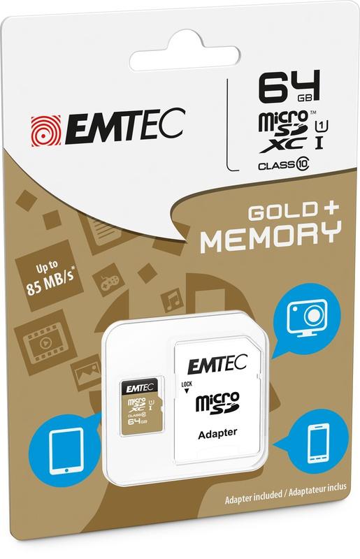 Emtec Micro SD Class10 Gold+ 64GB voor €15,98 @ Bol.com Plaza