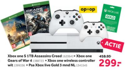 Gratis Gears of War 4, 2e controller en 3 maanden XBOX Live bij aankoop van een XBOX One S @ Intertoys/Bart Smit