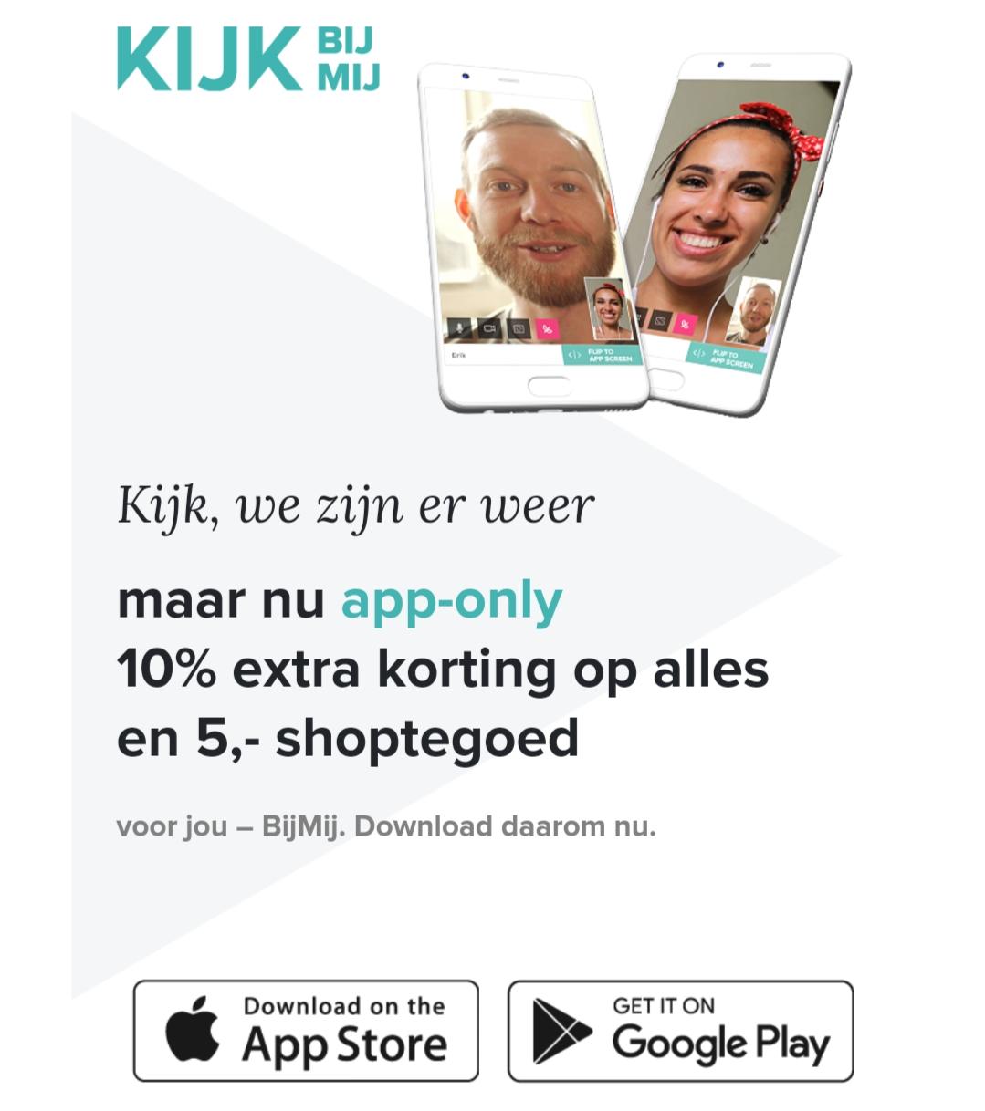 10% extra korting + €5 korting (o.a. Nintendo Switch voor €242,49) @ Kijk Bij Mij App