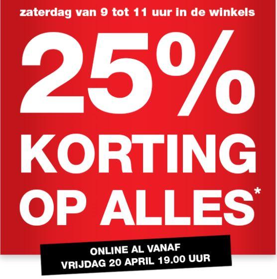 25% Korting op ALLES* zaterdag 21 april, online vanaf vrijdag 19 uur @ Praxis