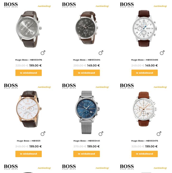 Hugo Boss horloge, tot 60%