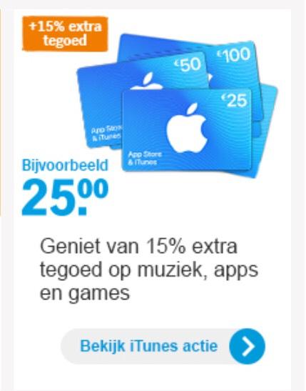 AH 15% extra tegoed op iTunes en Appstore kaarten