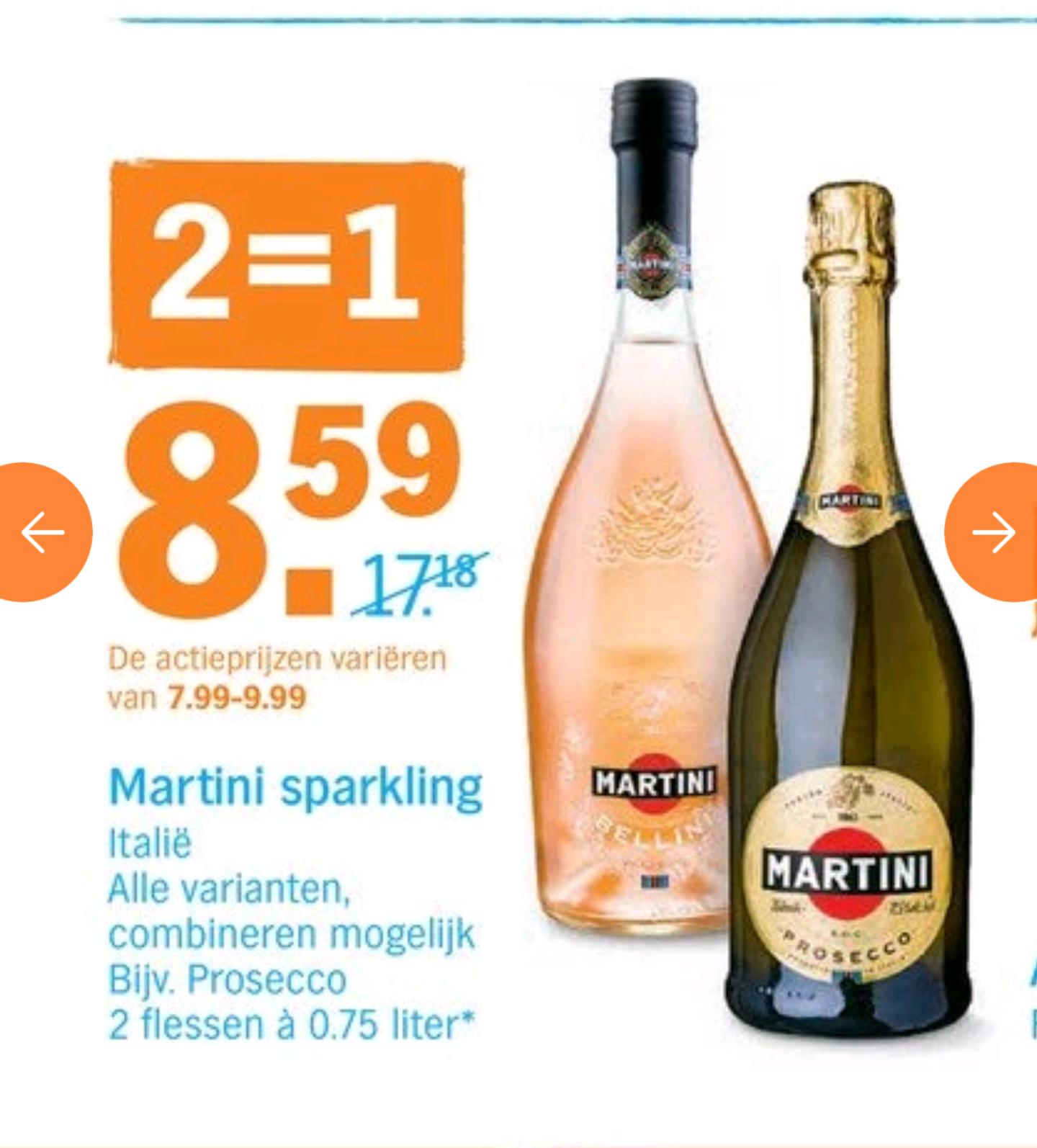 Martini Bellini en andere sparkling varianten 1+1 gratis