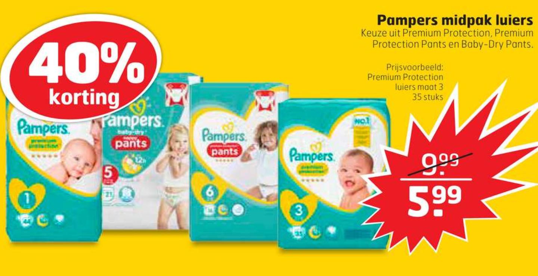 Pampers in de winkel €5,99 of online 6,25 (4 pakken voor €25,-)