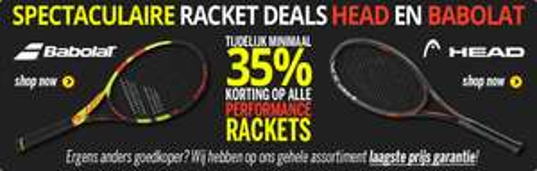 Min. 35% korting op Babolat en Head tennisrackets
