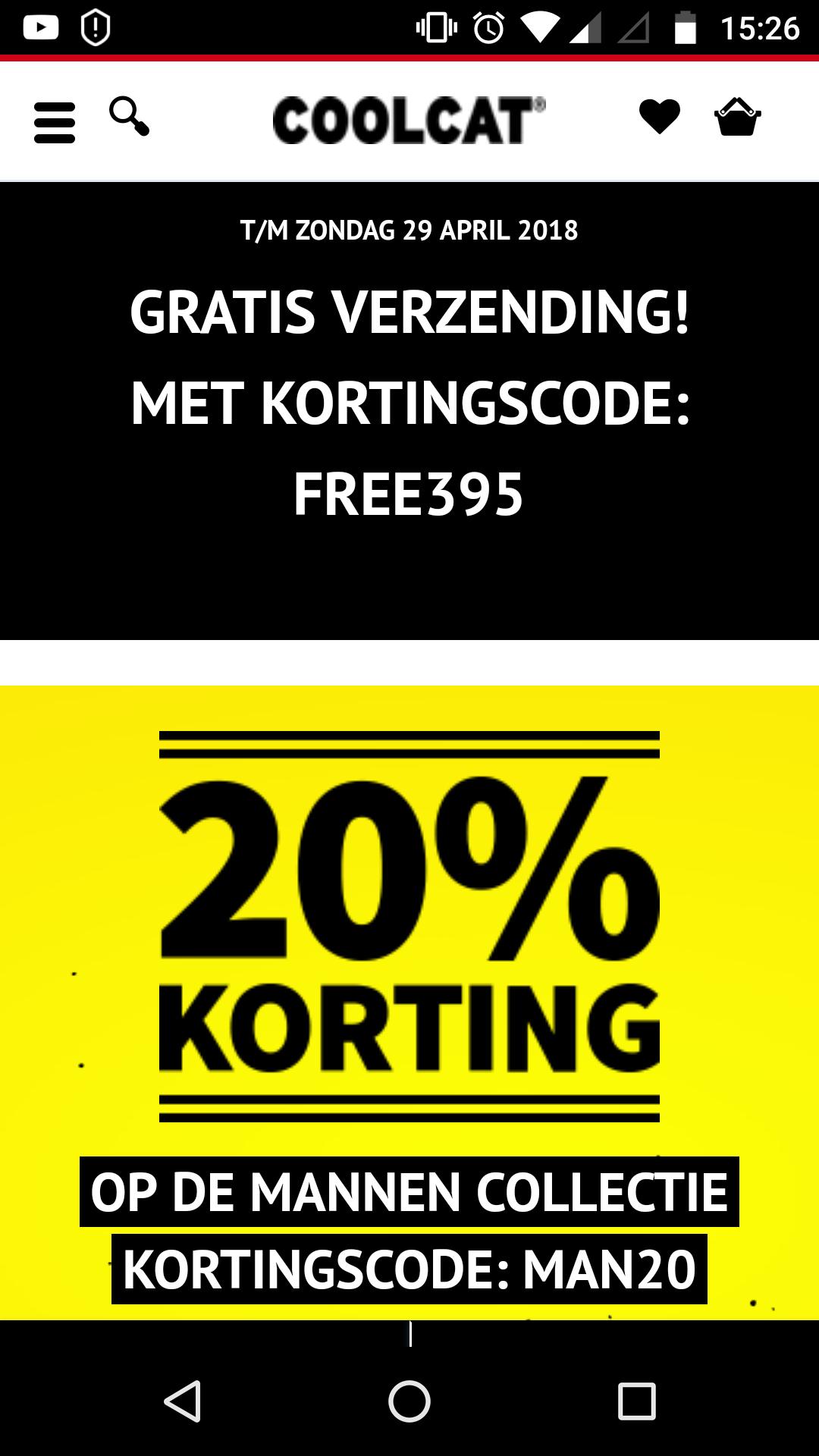 20% korting op mannen collectie, gratis verzending met Code free395