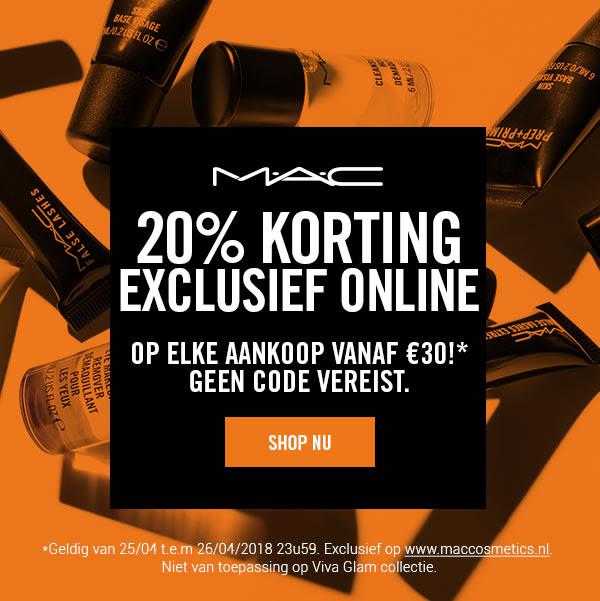 20% MAC exclusief online