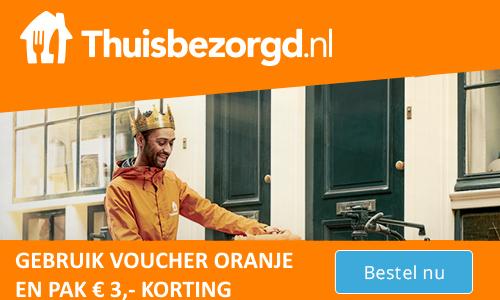 Thuisbezorgd.nl € 3,- korting (27 april) code: ORANJE
