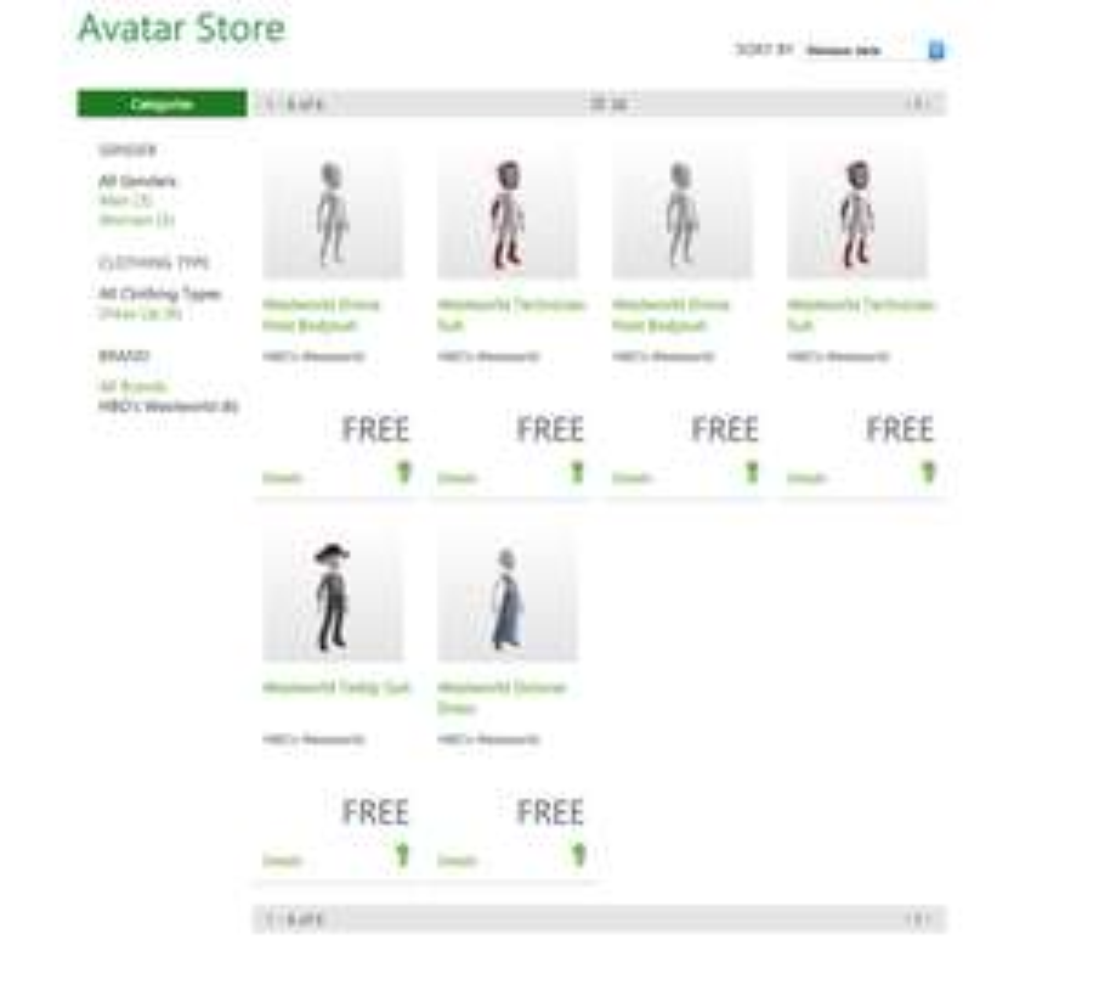 HBO's Westworld kleding gratis @ Xbox avatar store